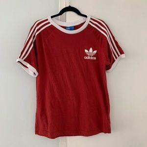 ADIDAS red 3-stripe logo shirt L